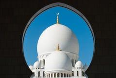 谢赫扎耶德大清真寺圆顶在阿布扎比 库存照片