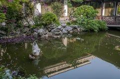 谦逊的管理员` s庭院在苏州-花诗, 免版税库存图片