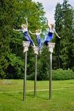 谬斯雕象在森林春天之前-在小西部漂泊温泉镇Marianske Lazne Marienbad -捷克停放 免版税库存图片