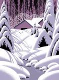 谷仓横向场面雪 图库摄影