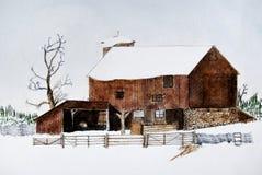 谷仓老冬天 向量例证