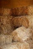 谷仓金黄被堆积的秸杆 免版税库存图片