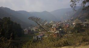 谷在加德满都,有五颜六色的房子的尼泊尔外面 免版税图库摄影