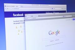谷歌和Facebook网站 库存图片