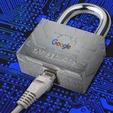 谷歌安全 有谷歌服务的安全互联网 可靠的服务谷歌 免版税库存照片
