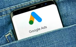 谷歌广告新的商标和应用程序 免版税库存图片