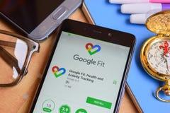 谷歌适合了:在智能手机屏幕上的健康和活动跟踪的dev应用 免版税图库摄影