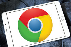 谷歌镀铬物浏览器商标 免版税库存图片