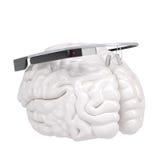 谷歌玻璃和脑子 库存例证