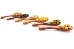 谷物健康庄稼用玉米,青豆,大豆,芝麻 米尔 图库摄影