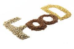 谷物和种子是健康食物。对角。 免版税库存图片