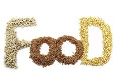 谷物和种子是健康食物 免版税库存图片