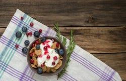 谷物早餐用蔓越桔、蓝莓和酸奶 库存图片