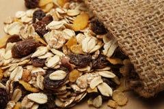 谷物混合用修剪和葡萄干在大袋 免版税库存照片