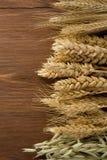 谷物的耳朵在木头的 免版税库存照片