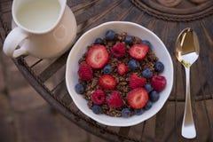 谷物莓果牛奶 库存照片