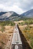 谷物运输车和山顶上的看法  免版税库存图片