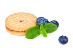 谷物饼干用蓝莓和薄荷叶 在白色背景隔绝的一顿清淡的甜快餐 一个甜和有机曲奇饼 免版税库存图片