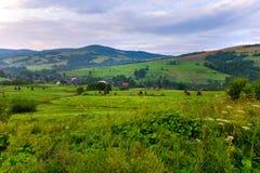 谷的一个小村庄与树罕见的种植在多云天空的背景的 免版税库存图片