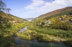 谷的村庄 库存照片