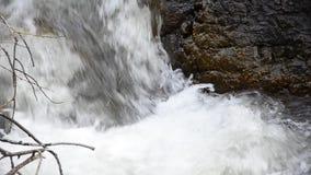 从谷的瀑布奔跑 的一个大岩石水流量 水逃跑峭壁并且碰撞 非常喧闹的瀑布 股票视频