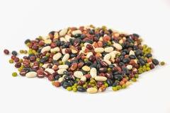 谷粒,在白色背景隔绝的混杂的豆 库存照片