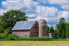 谷仓、筒仓和玉米,明尼苏达 免版税图库摄影