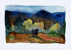 谷 与母牛的水彩风景 皇族释放例证