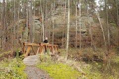 14 11 2015 - 谷Peklo, Ceska Lipa地区,捷克共和国-新的木人行桥在Peklo 库存图片
