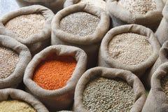 豆、米、扁豆、燕麦、麦子和大麦在黄麻大袋 免版税库存图片