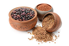 豆、米和扁豆 免版税库存照片