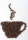 豆做的咖啡杯 免版税库存照片