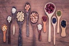 豆和扁豆的分类在木匙子在柚木树木头bac 免版税库存照片