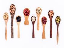 豆和扁豆的分类在木匙子孤立在白色 免版税库存照片