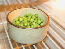 绿豆和豌豆果子在白色的豆类 库存图片