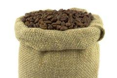 豆咖啡亚麻布大袋 免版税图库摄影