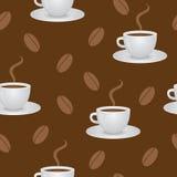 豆咖啡杯仿造无缝 免版税库存照片