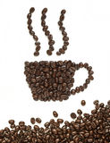 豆咖啡杯做形状 免版税图库摄影