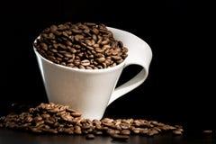 豆咖啡杯白色 免版税图库摄影