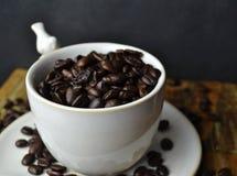 豆咖啡杯白色 图库摄影