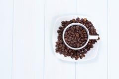豆咖啡杯表 免版税库存图片