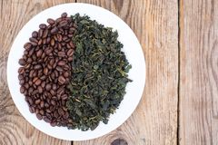 豆咖啡绿茶 免版税库存照片