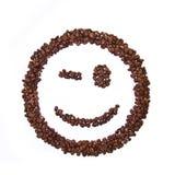 豆咖啡被塑造的微笑 库存照片