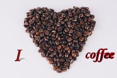 豆咖啡重点射击工作室 在3d的Ilove coffe 库存图片