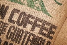 豆咖啡黄麻大袋 免版税库存照片