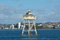 豆岩石灯塔奥克兰新西兰 库存照片