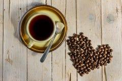 豆无奶咖啡杯子样式葡萄酒 免版税库存照片