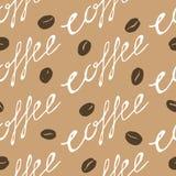 豆无缝咖啡的模式 免版税图库摄影
