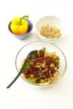 豆沙拉、毒菌和黄色胡椒 免版税库存照片