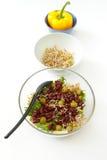 豆沙拉、毒菌和黄色胡椒 免版税图库摄影